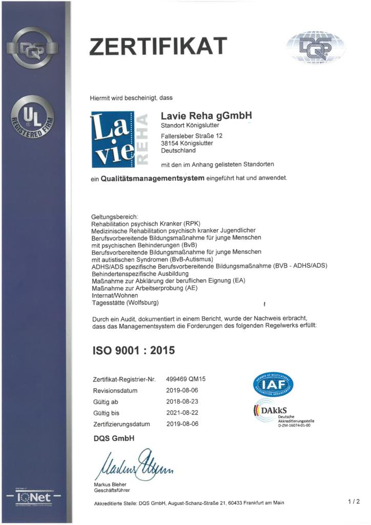 ISO 9001: Zertfikat