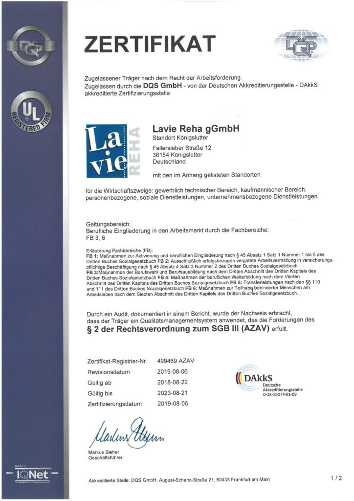 AZAV Zertifikat