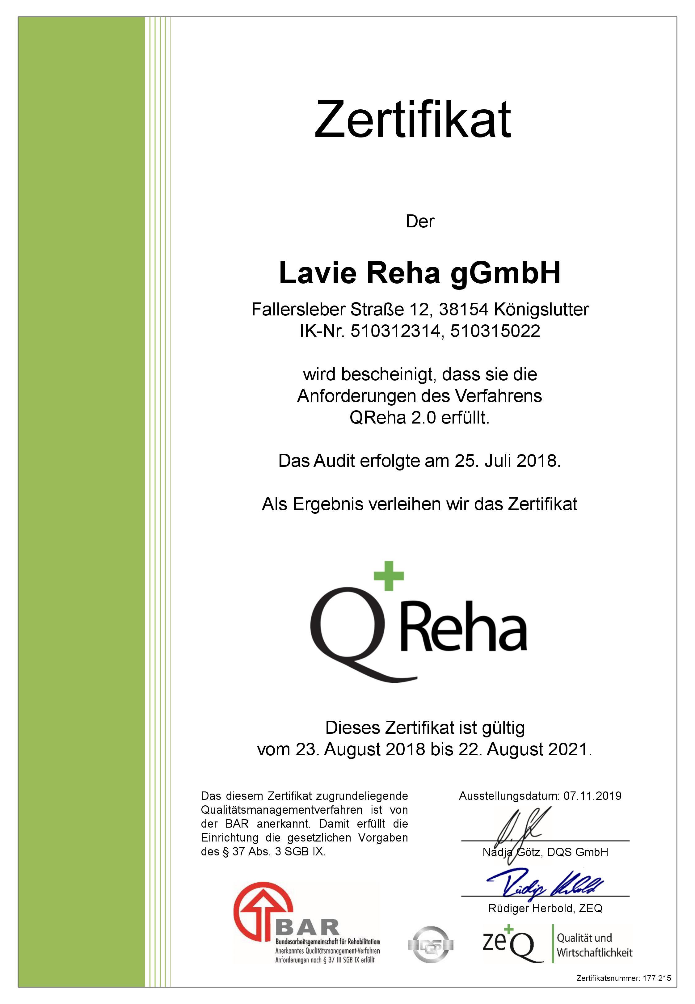 Zertifikat QReha